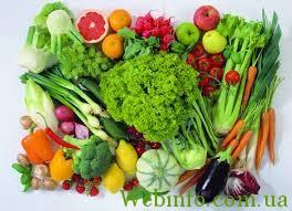 сырые фрукты, овощи, зелень