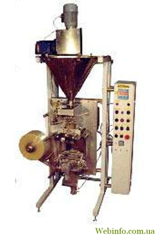 Автоматическая установка для фасовки и упаковки сыпучих продуктов со шнековым дозатором в трех-четырехшовные пакеты